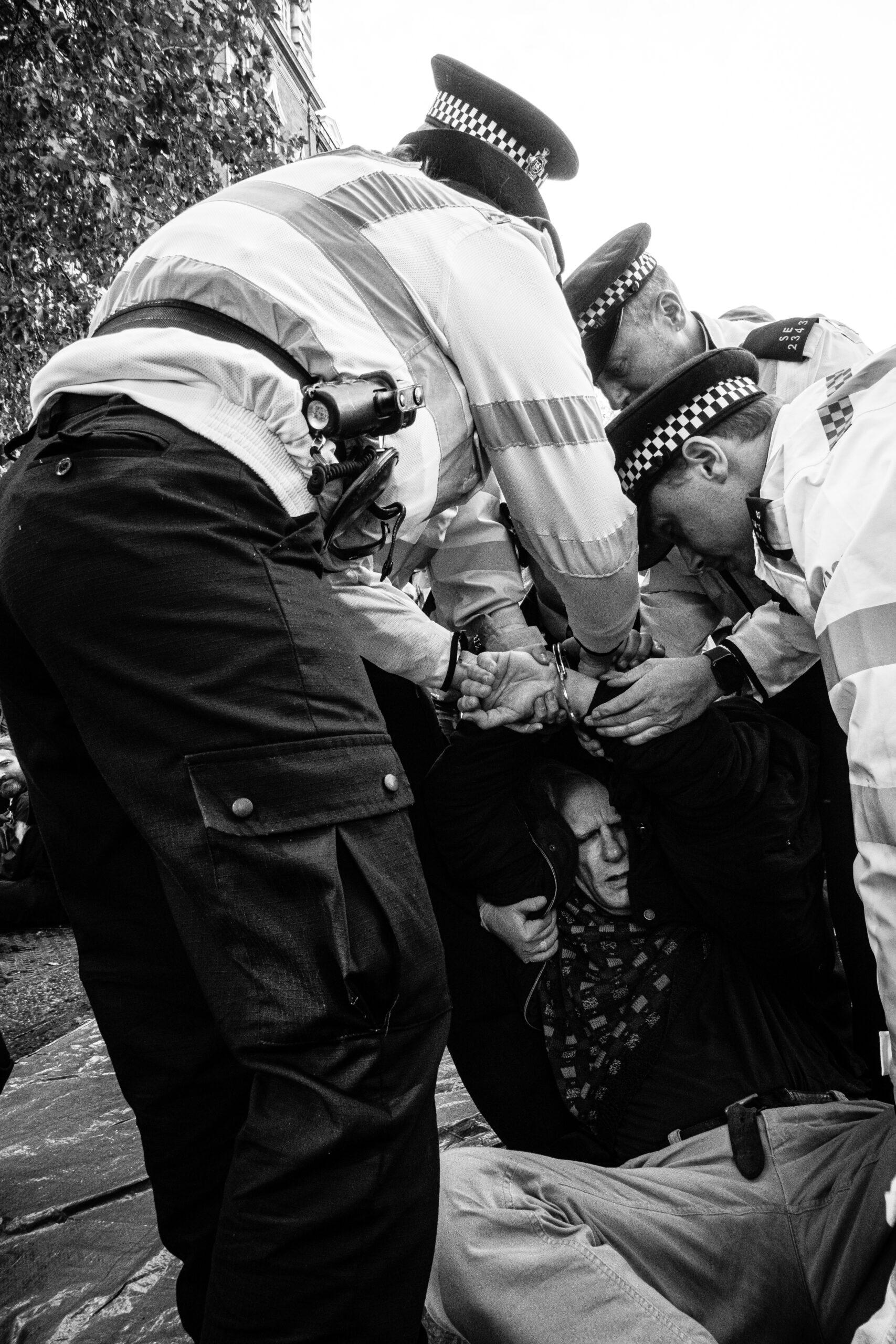Old man arrested, Extinction Rebellion, London